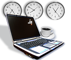 Laptop, Clocks and Coffee